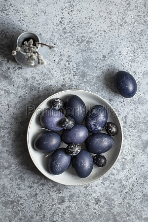 blue easter quail and chicken eggs