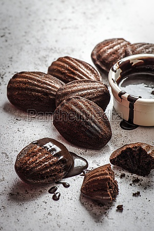 chocolate madeleines with chocolate dipping sauce