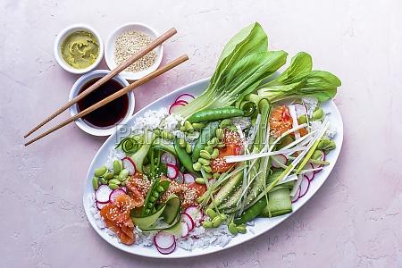 sashimi salmon platter with sticky sushi