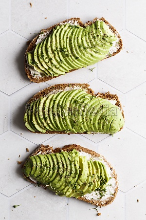 sandwiches with cream cheese avocado pepper