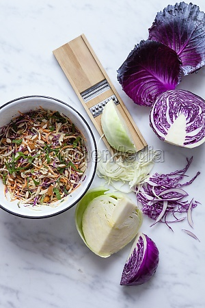 red and white cabbage coleslaw