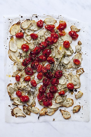 roasted jerusalem artichokes and mini tomatoes