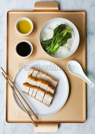 chinese pork belly with rice and