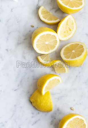 lemons halved and slices
