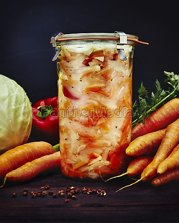 pickled white cabbage carrots and peppers