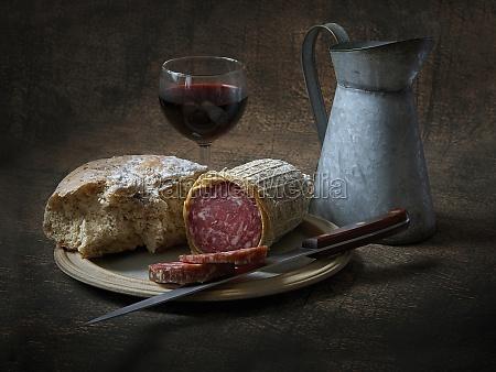 italian salami bread and red wine