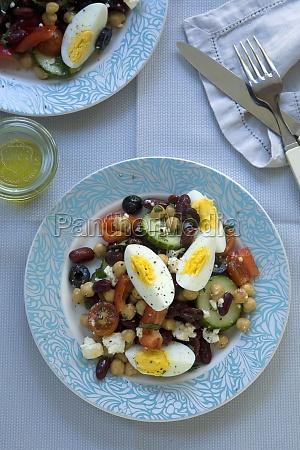 mediterranean bean salad with boiled eggs