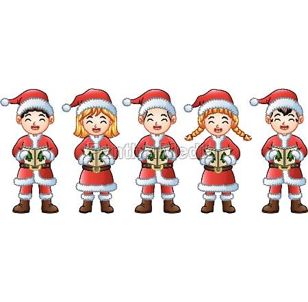 five happy children singing christmas carols