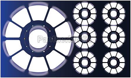 various circle design on abstract blue
