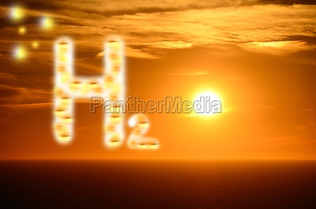 h2 hydrogen letters with bright orange