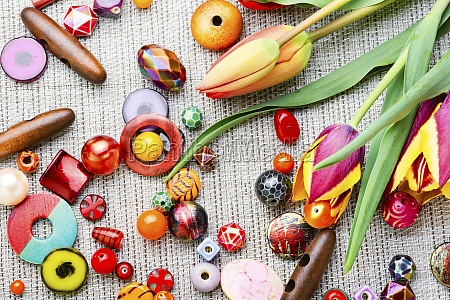 set of colored beads jewelry making