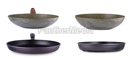 new frying pans isolated over white