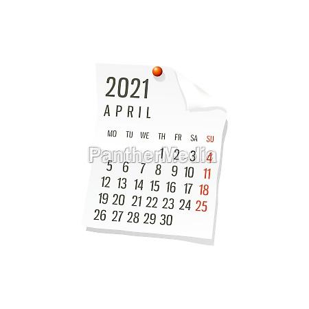 2021 april vector calendar