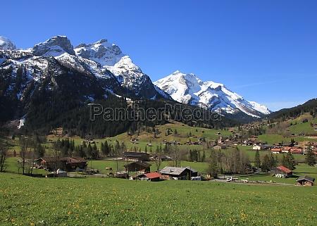 village gsteig bei gstaad and snow