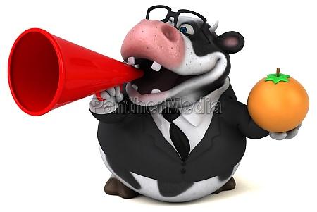 fun cow 3d illustration