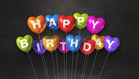 colorful happy birthday heart shape air