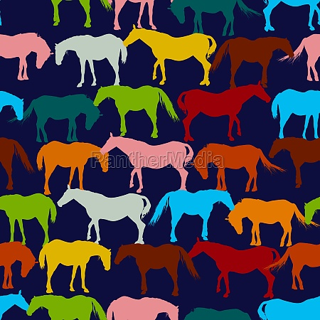 retro horses pattern