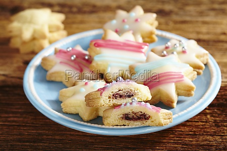 colourful star biscuits with icing and