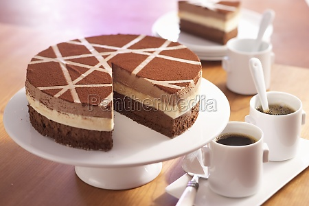 tri coloured chocolate mousse cake with