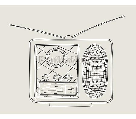 vintage radio sketch 2