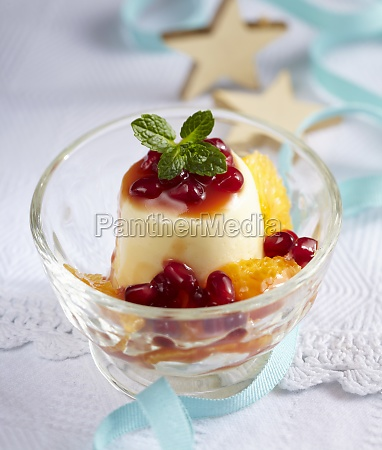 white chocolate mousse with pomegranate and