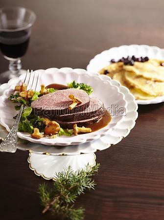 roasted saddle of venison with savoy
