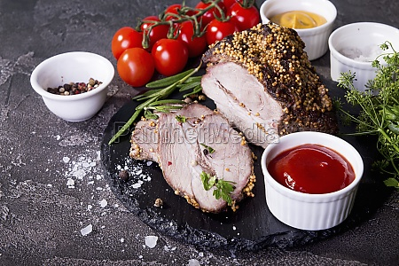 cold boiled pork garnish with cherry