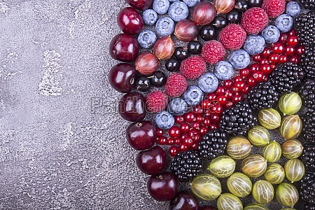 geometric pattern of summer fruits and