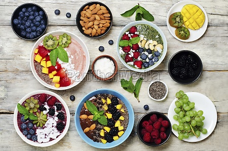 variation of healthy smoothie breakfast bowls