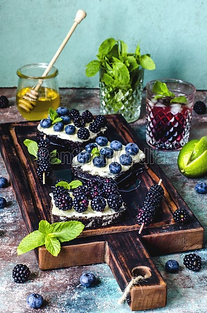 sandwiches with berries and honey and