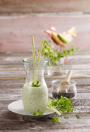 a basil smoothie with chia seeds