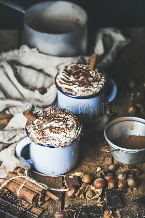 hot chocolate in blue mugs with