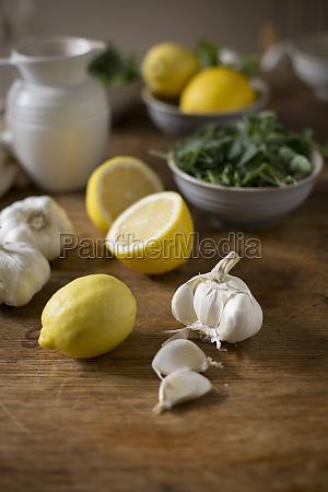 lemon garlic and herbs