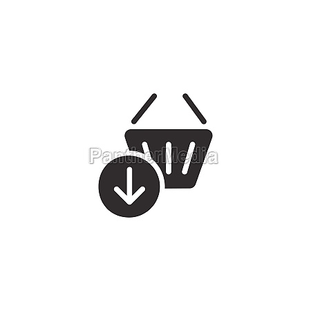 shopping basket down arrow isolated icon