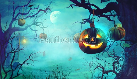 halloween with scary pumpkins and dark