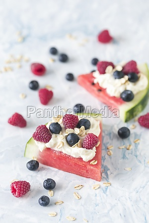 watermelon slices with whipped cream and