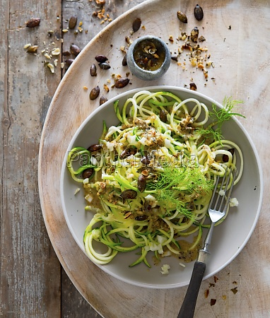 courgette pasta with pumpkin seed pesto