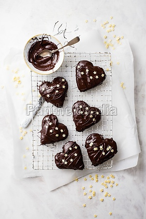 gingerbread hearts with jam and chocolate