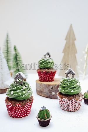 christmas chocolate muffins with creamy green