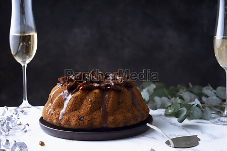 festive bundt cake with dates and