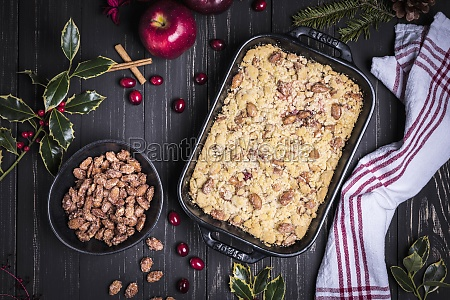 christmas crumble with roasted almonds seen