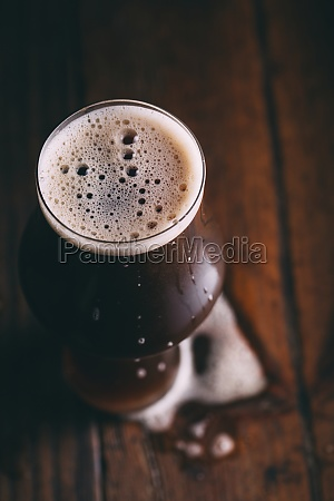 imported chocolate malt beer in a
