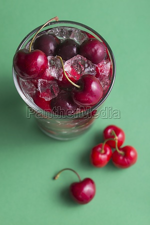 cherries and ice cubes in a