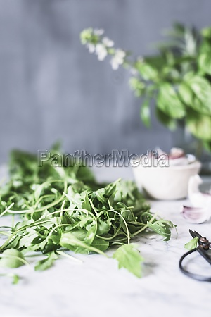 fresh green rucula on marble table