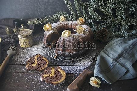 a chocolate and pumpkin wreath cake