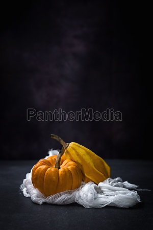 two yellow pumpkins on a white