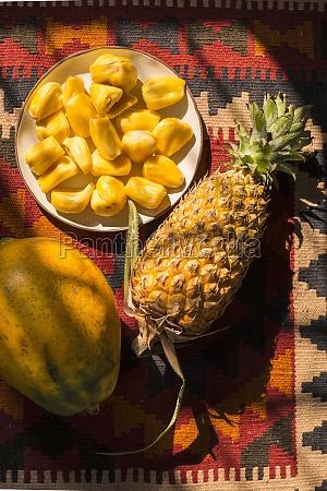 jackfruit segments on a plate whole