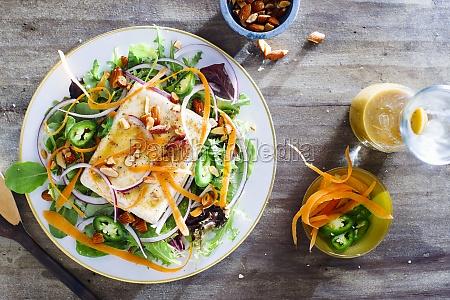 marinated tofu salad with spicy peanut