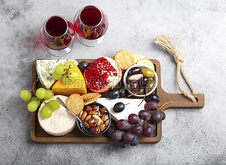selection of cheese and appetizers red