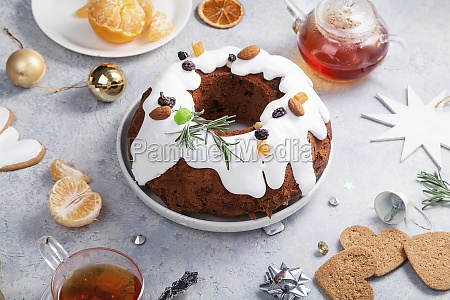 christmas cake with dried fruits soaked